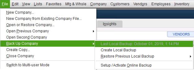 Backing up Company Files