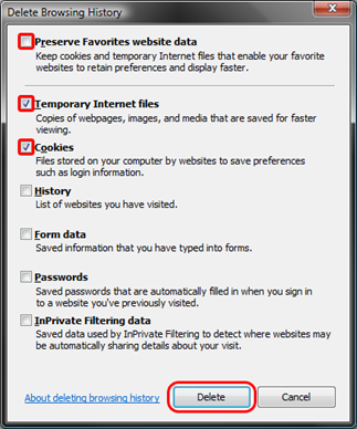 Clear cookies from Internet explorer