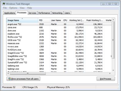 processes tab