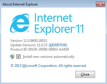 update Internet Explorer